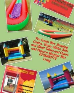 PRO EVENTS HIRE JUMPING CASTLES, WATER SLIDES,POPCORN MACHINE,KIDS AND ADULTS TABLES AND CHAIRS FOR HIRE. https://www.facebook.com/proeventshire/ We hire Jumping Castles, Water Slides, Popcorn Machine, Kids and Adult Tables and Chairs (With or Without Covers). We deliver set up and fetch from you. KINDLY CONTACT CRAIG DIRECTLY THANKS. MOBILE: 079 888 4774